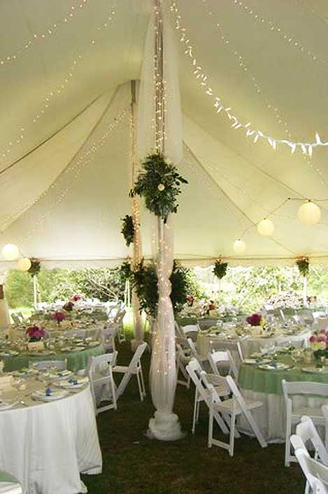 Tent, tables, place settings all from Island Rents