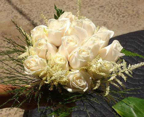 White Rose Bridal Bouquet by Nui