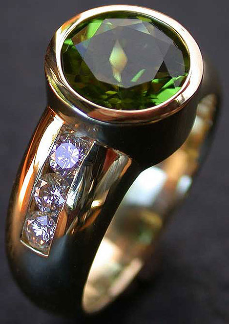 Peridot & Diamond Ring by Michael Schwarz