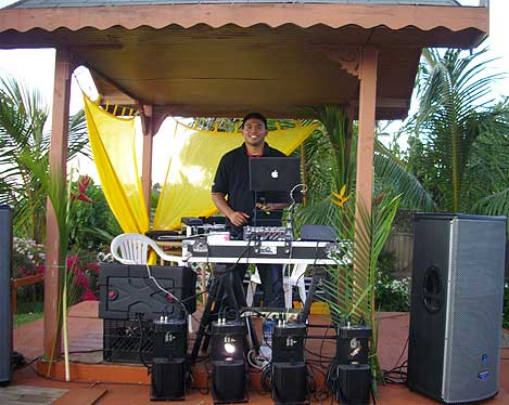 Jeff DJ'ing a wedding at Paia's Garden