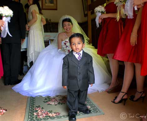 Happy bride with her son