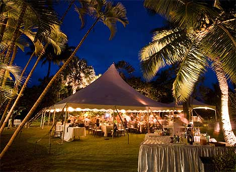 Wedding tent at night