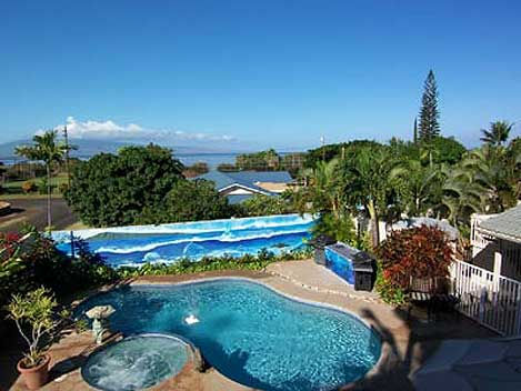 View of Maui overlooking the swimming pool