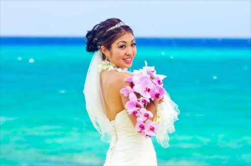 Bride by Turquoise Ocean