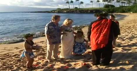 Hawaiian beach wedding in Kapalua with Kahu Kamuela