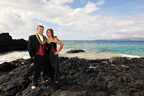 Bride and groom on lava