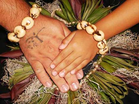 Hawaiian hands, old and young