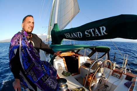 Kahu on sailboat to officiate a wedding