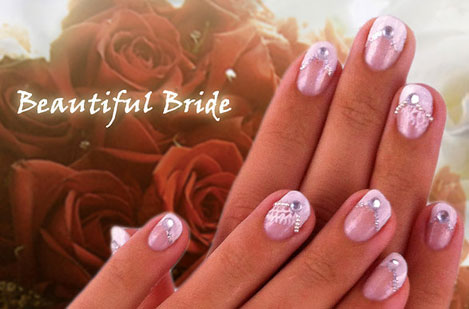 Beautiful Bride nail art by Isa Inca