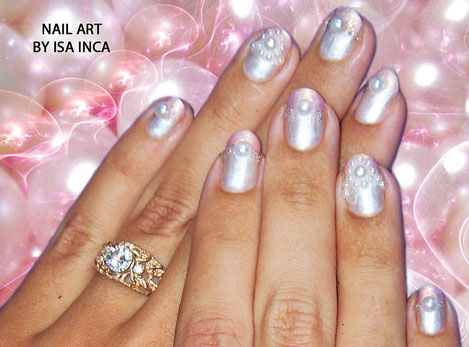 Pearl Princess Nail Art by Isa Inca