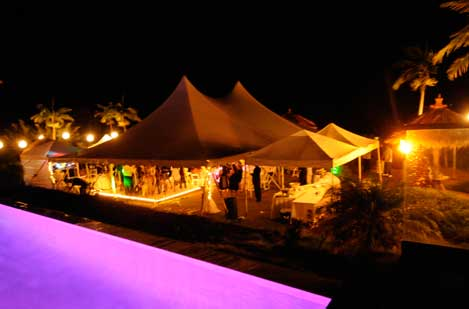 Wedding tents at night