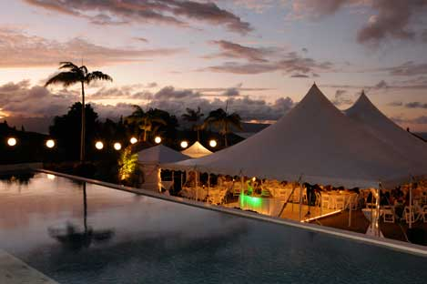 Wedding tents by the pool