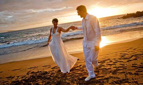 Bride & groom at the beach