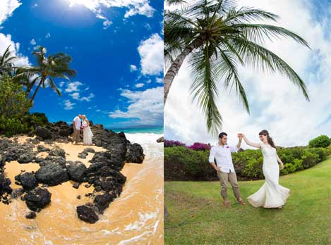 Bride and groom on the beach in Kihei