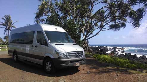 PlatinumTours Luxury Van along the road to Hana