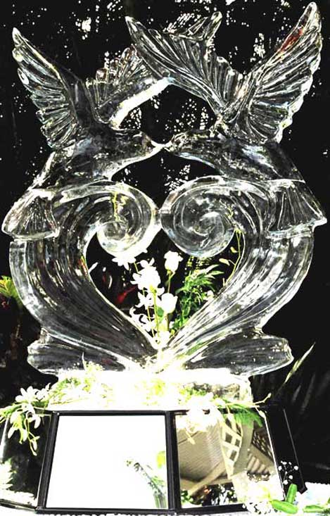 Kissing Doves Ice Sculpture by Darren Ho