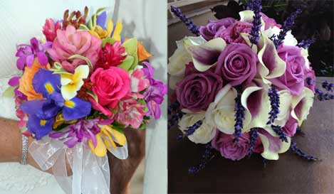 Vibrant bridal bouquets with irises, roses, calla lilies